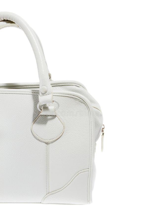 Bolsa elegante do couro branco das senhoras da estreia fotos de stock