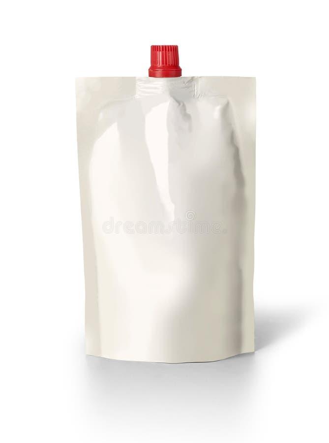 Bolsa en blanco del canalón imagen de archivo