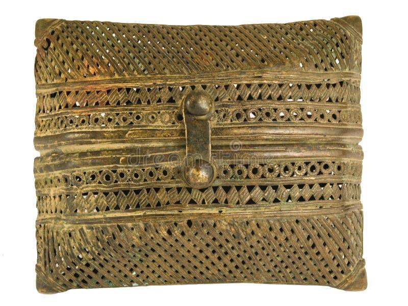 Bolsa filigree de bronze indiana fotografia de stock