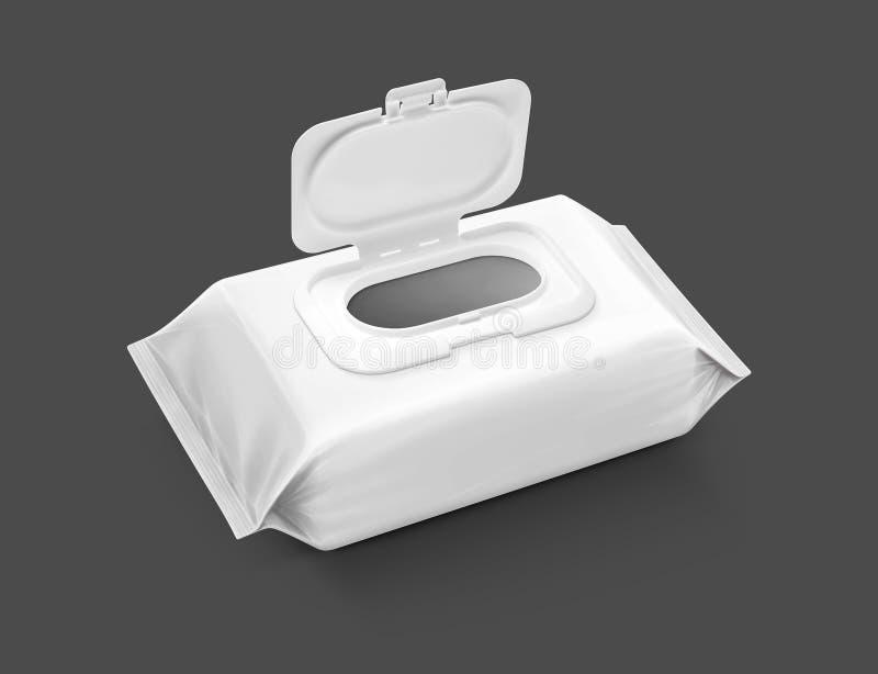 Bolsa mojada de empaquetado en blanco de los trapos aislada en fondo gris imagen de archivo libre de regalías