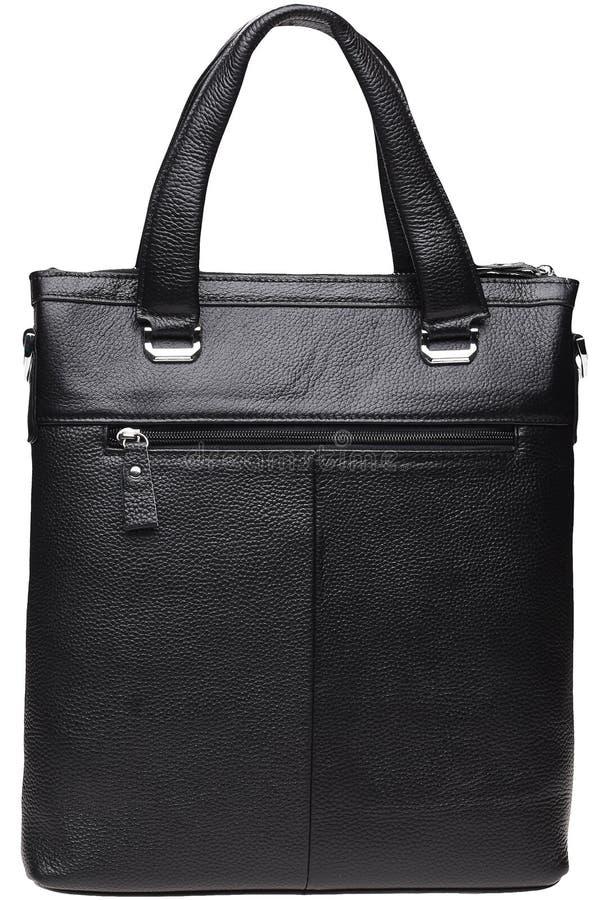 Bolsa negra de cuero masculino fotografía de archivo
