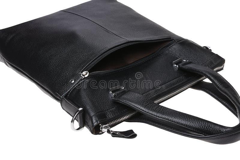 Bolsa negra de cuero masculino fotos de archivo