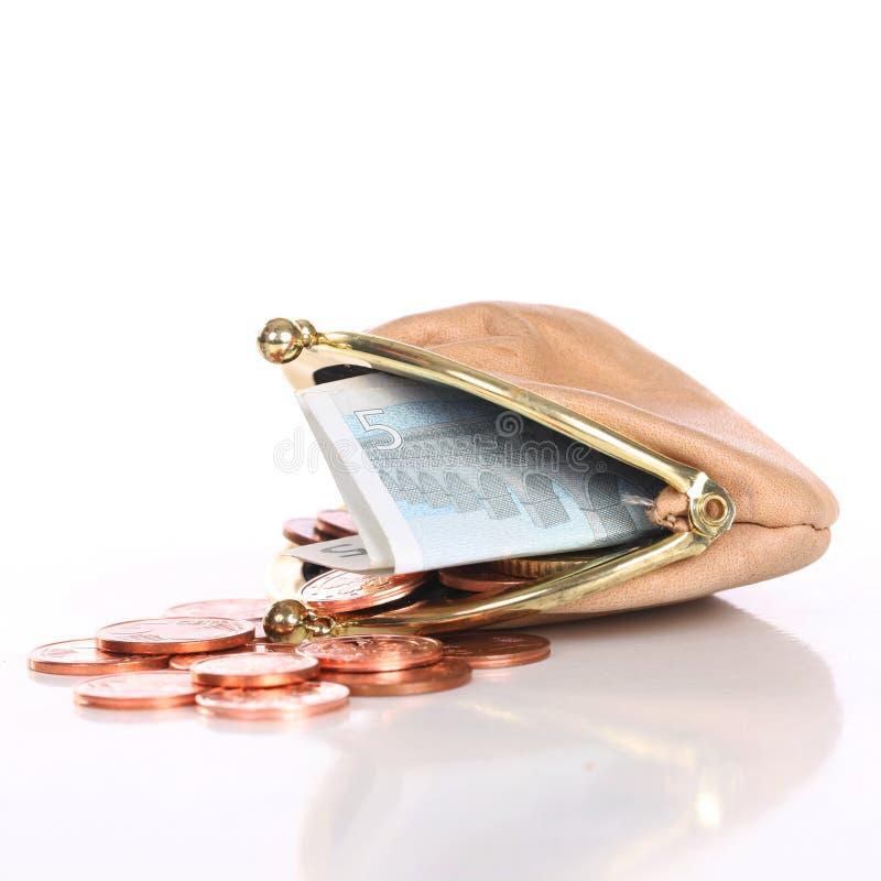 Bolsa pequena com dinheiro pequeno foto de stock royalty free