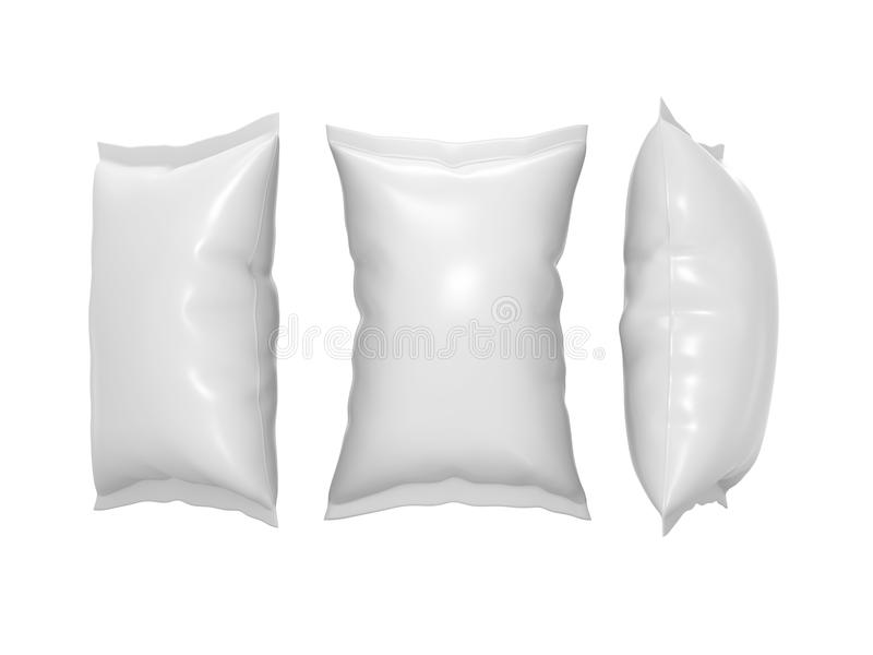Bolsa plástica blanca del bocado con la trayectoria de recortes ilustración del vector