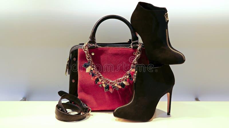 Bolsa, sapatas e acessórios de couro para mulheres imagens de stock