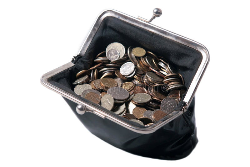 A bolsa velha com moedas fotos de stock