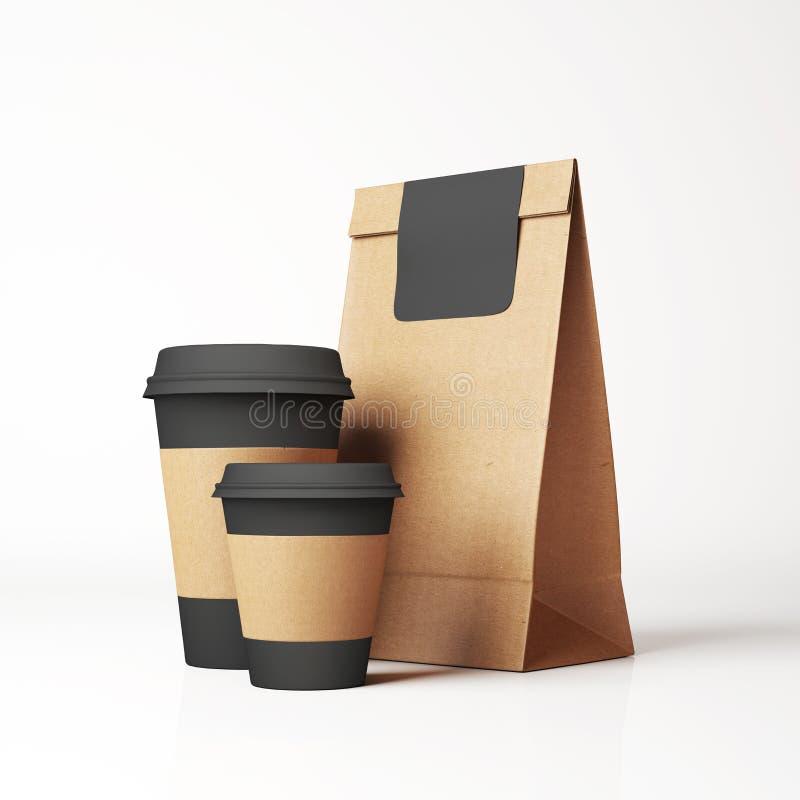 Bolsa y tazas de papel del arte foto de archivo libre de regalías