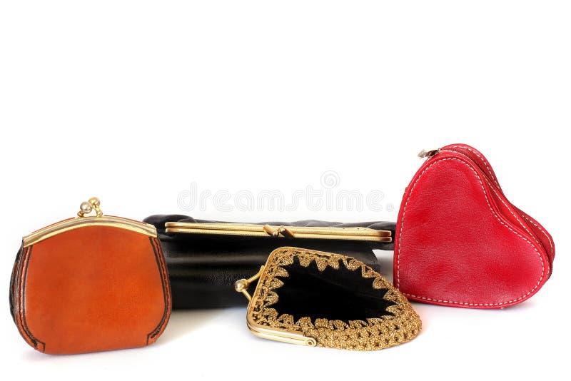 Bolsas das senhoras Carteira das senhoras para coisas pequenas Muitas bolsas estilo Forma beleza imagem de stock royalty free