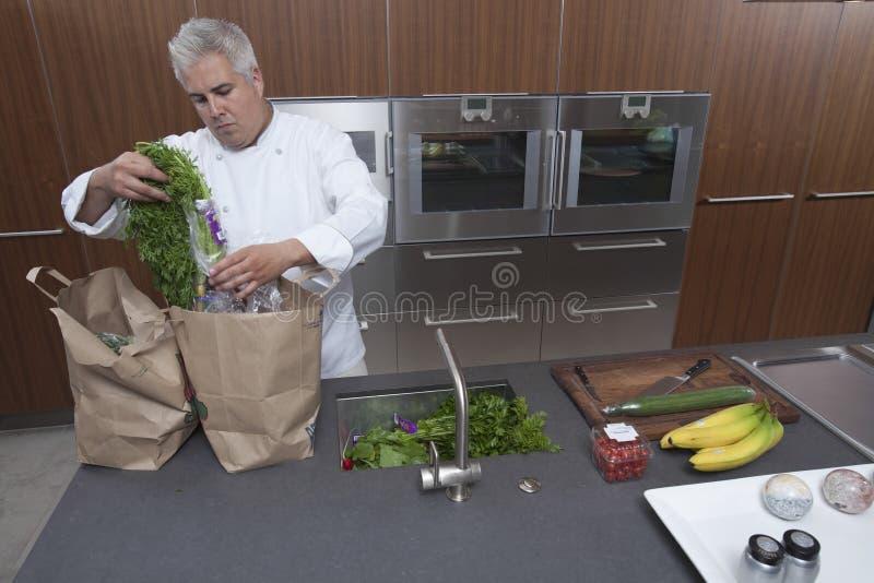 Bolsas de papel de Unpacking Groceries From del cocinero en cocina imagen de archivo libre de regalías