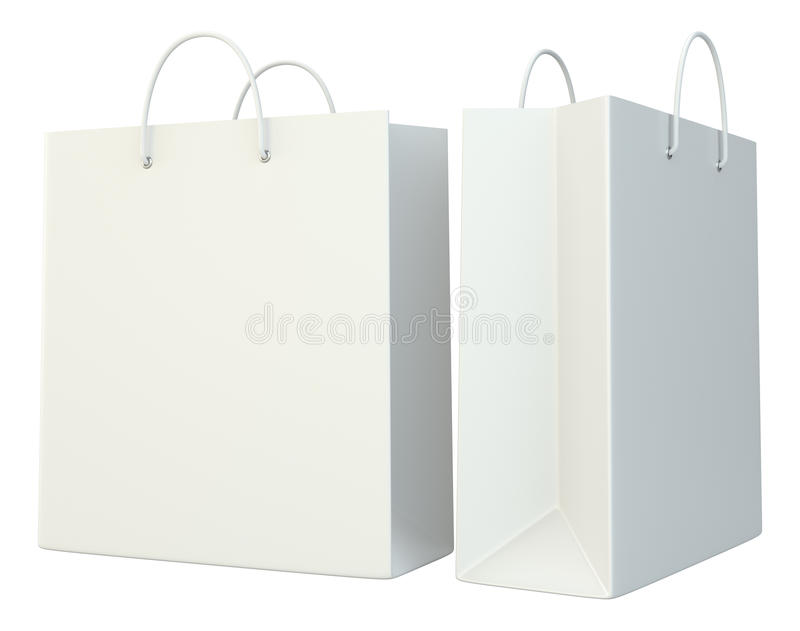 Bolsas de papel en blanco de las compras fijadas libre illustration