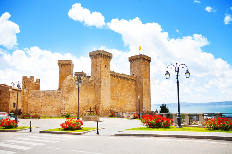 Bolsena castle. And square in front of it located in Lazio, Itally stock photography