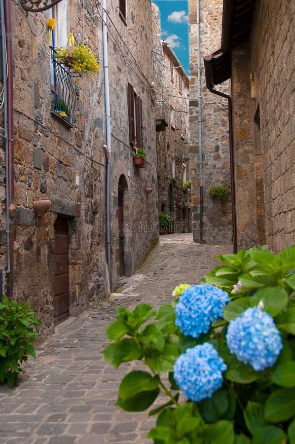 Bolsena italy. An old street in bolsena, italy royalty free stock images