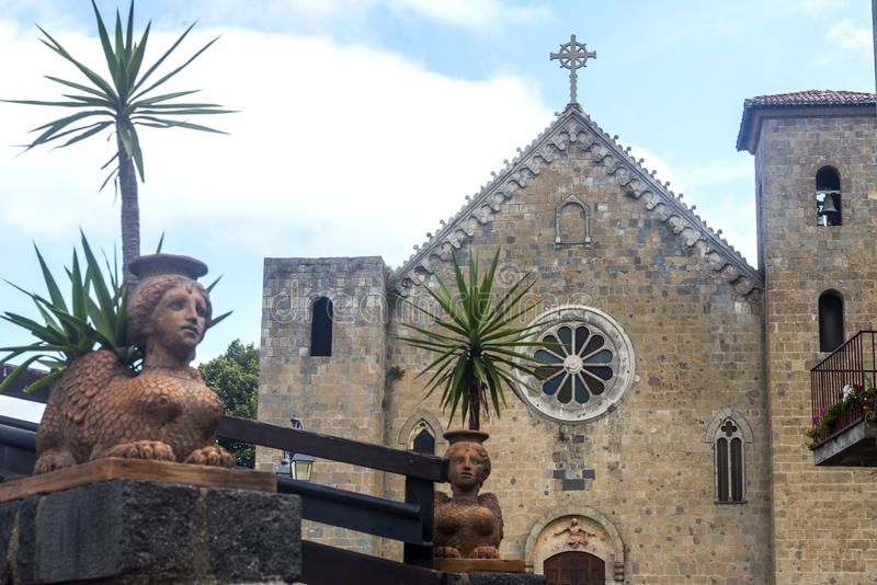 Bolsena (Italy). Bolsena (Viterbo, Lazio, Italy): medieval church facade stock photos