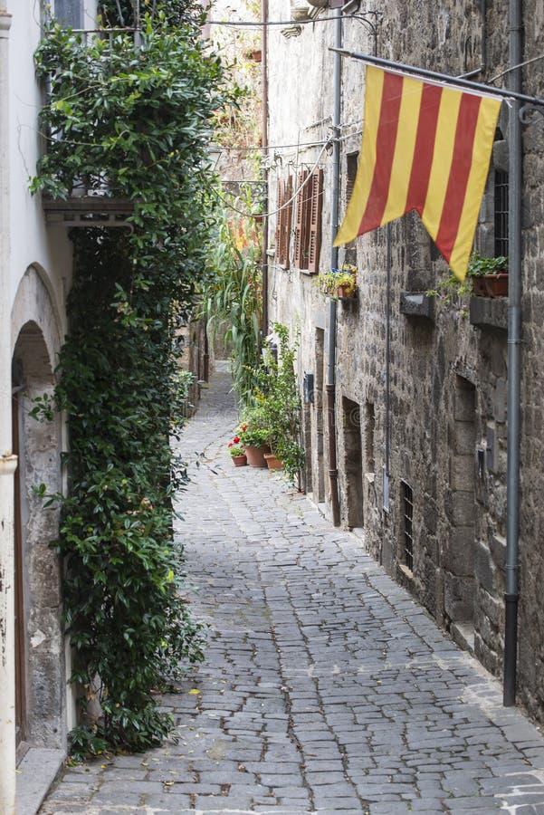 Bolsena (Italy). Bolsena (Viterbo, Lazio, Italy): old typical street of the medieval town stock photo