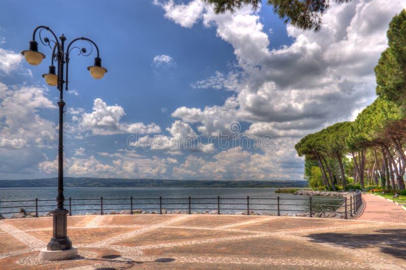 Bolsena promenade. Promenade of Bolsena, on Bolsena Lake, the greatest volcanic lake in Italy, near Rome royalty free stock photo