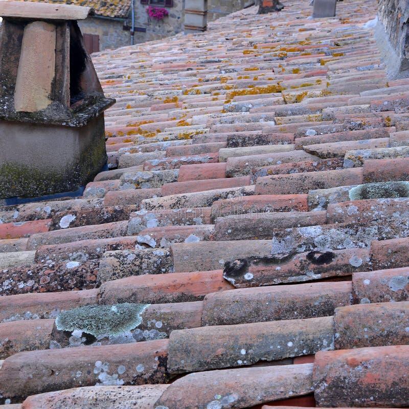 Bolsena (Viterbo, Lazio, Italië): typische betegelde daken van oud royalty-vrije stock foto