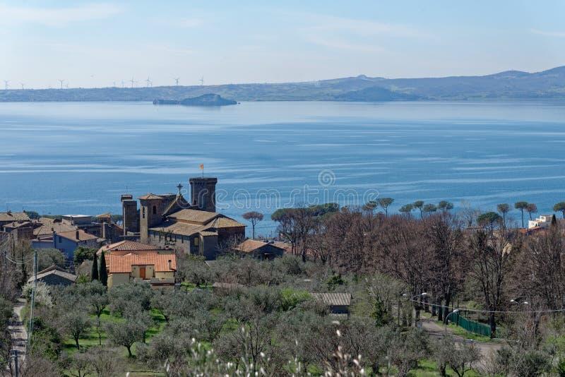 Bolsenameer in Lazio, Italië stock afbeeldingen
