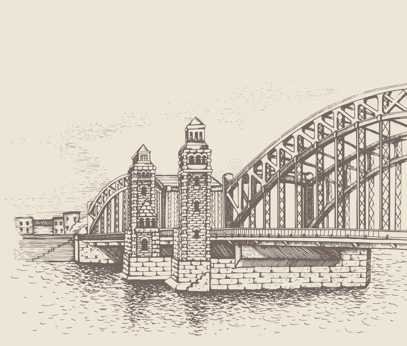 Bolsheokhtinsky桥梁,圣彼得堡,俄罗斯 皇族释放例证