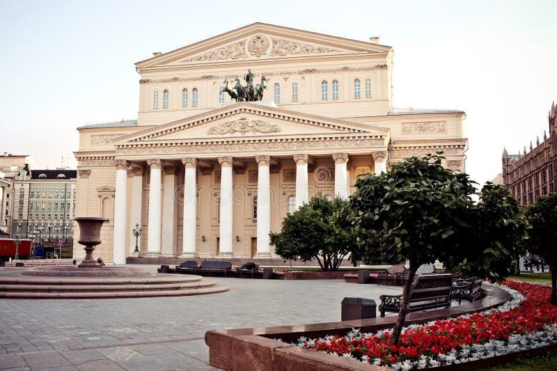 bolshoi som bygger den huvudmoscow solnedgångteatern royaltyfri fotografi