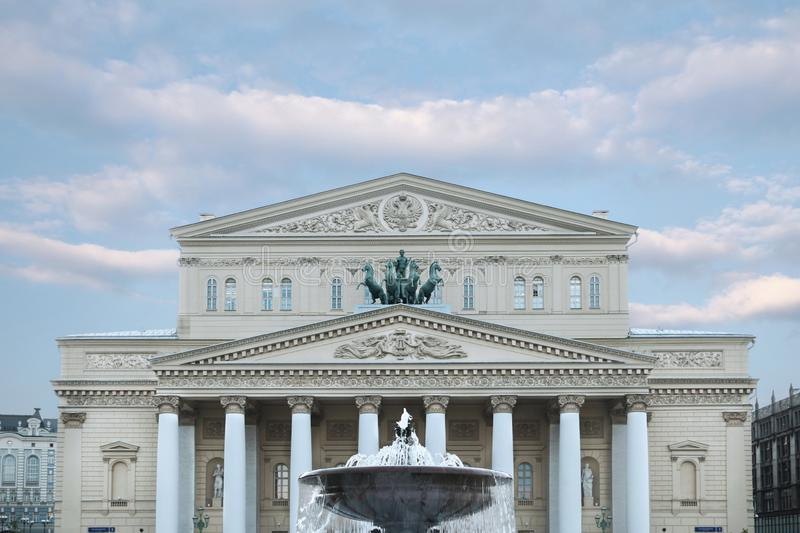 Bolshoi theater in the afternoon, in good weather. Historical scene. Moscow. Russia. 30.05.2019. Bolshoi theater in the afternoon, in good weather. Historical royalty free stock images