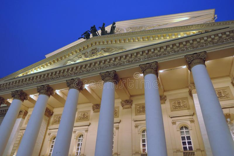 Bolshoi theater historical building in Moscow. Facade detail. Horses sculpture. Color photo royalty free stock images