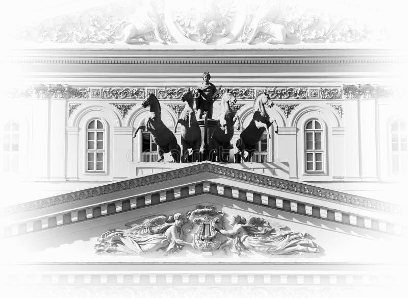 Bolshoi theatre front entrance closeup background. Hd horizontal orientation vivid vibrant black white bright rich composition design concept element object royalty free stock photos