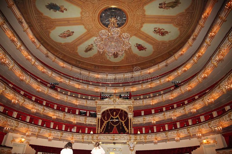 Bolshoi theatre. Historical scene. Moscow. 26.04.2018. Bolshoi theatre. Historical scene. Moscow royalty free stock photography