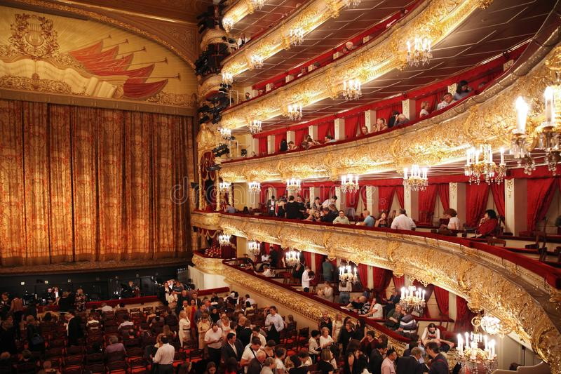 Bolshoi theatre during the intermission with visitors. Historical scene. Moscow. Russia. 30.05.2019. Bolshoi theatre during the intermission with visitors stock images