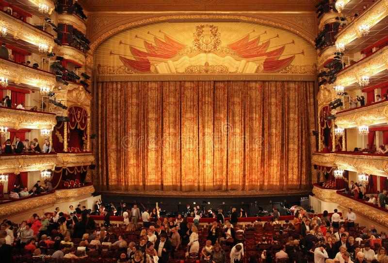 Bolshoi theatre stage during the intermission . Historical scene. Moscow. Russia. 30.05.2019. Bolshoi theatre stage during the intermission . Historical scene stock images