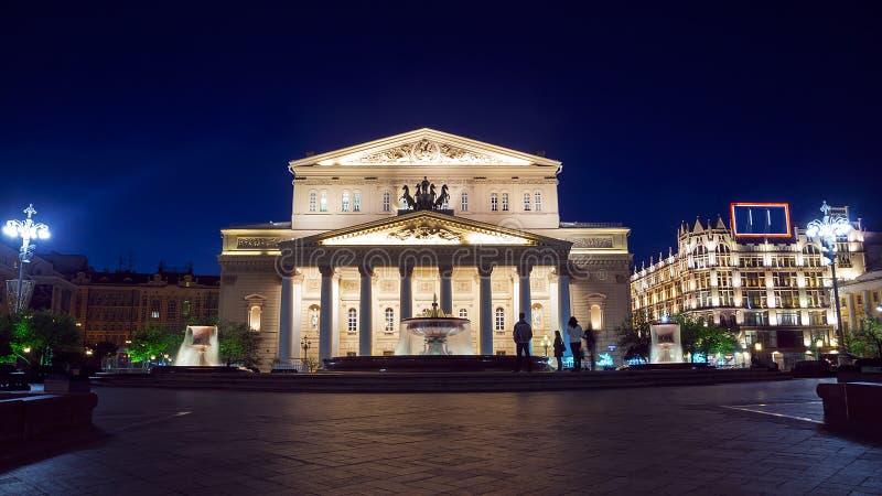 Bolshoi Theatre w Moskwa, Rosja (noc widok) obrazy royalty free