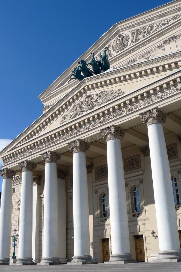 Bolshoy teaterbyggnad i Moscow Hästskulptur arkivfoto