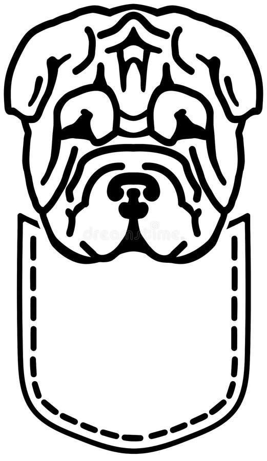 Bolsillo de Shar Pei blanco y negro libre illustration