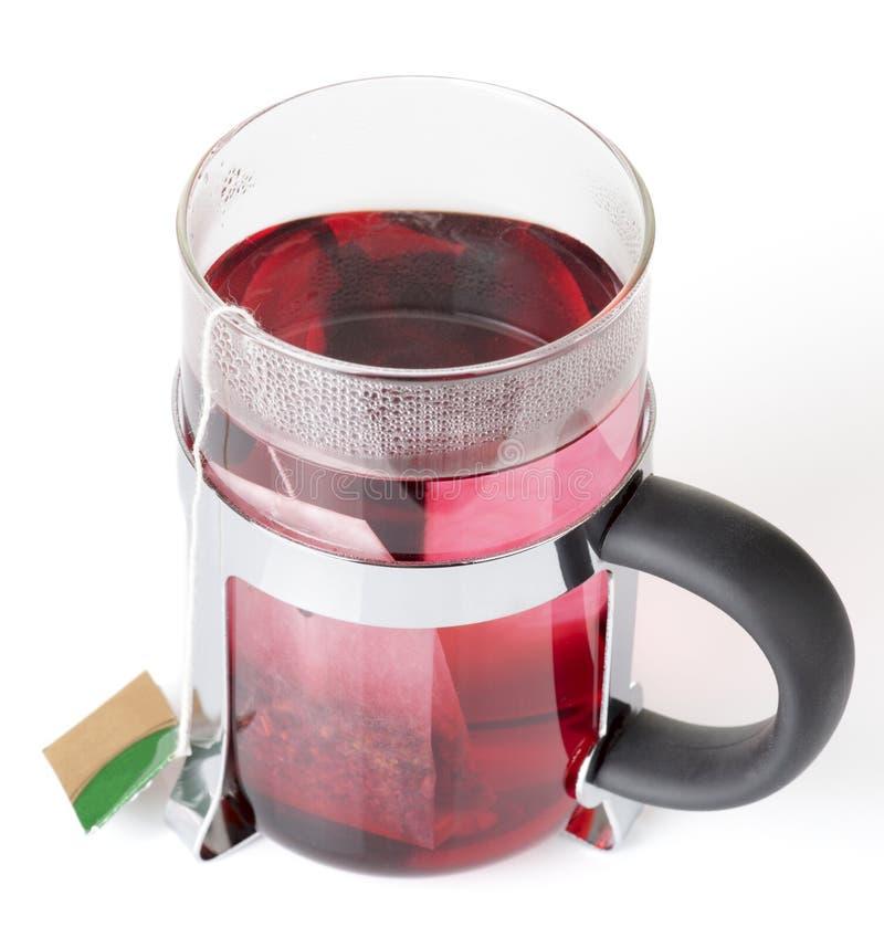Bolsita de té de cristal del wirh de la taza imagen de archivo libre de regalías