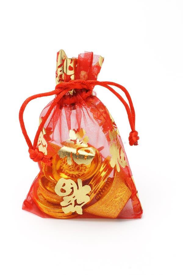 Bolsita decorativa roja china del Año Nuevo imágenes de archivo libres de regalías