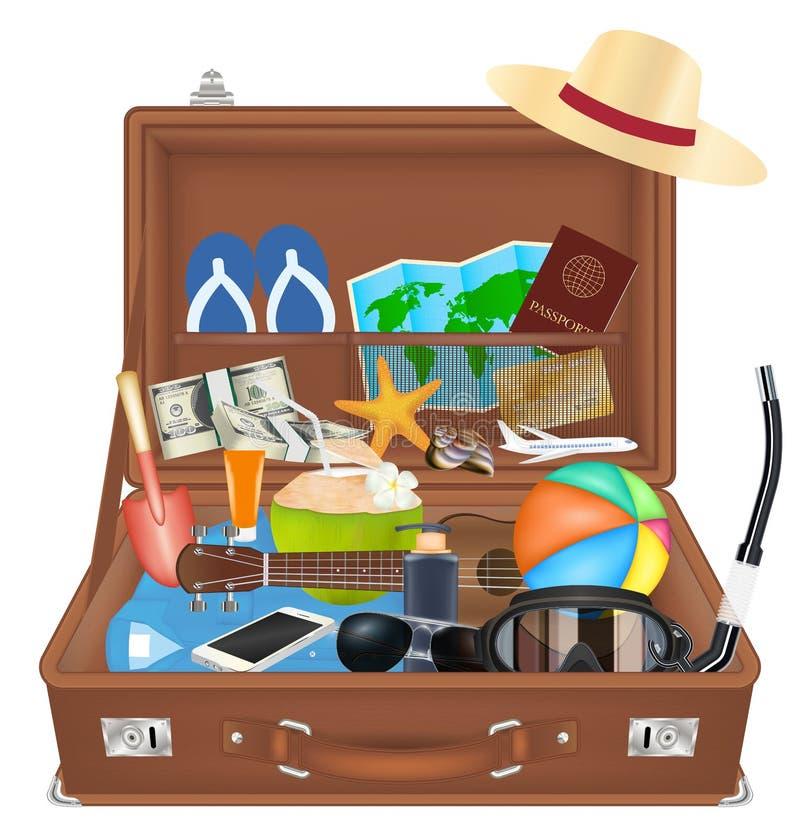 Bolso abierto de la maleta con el objeto del viaje de la playa libre illustration