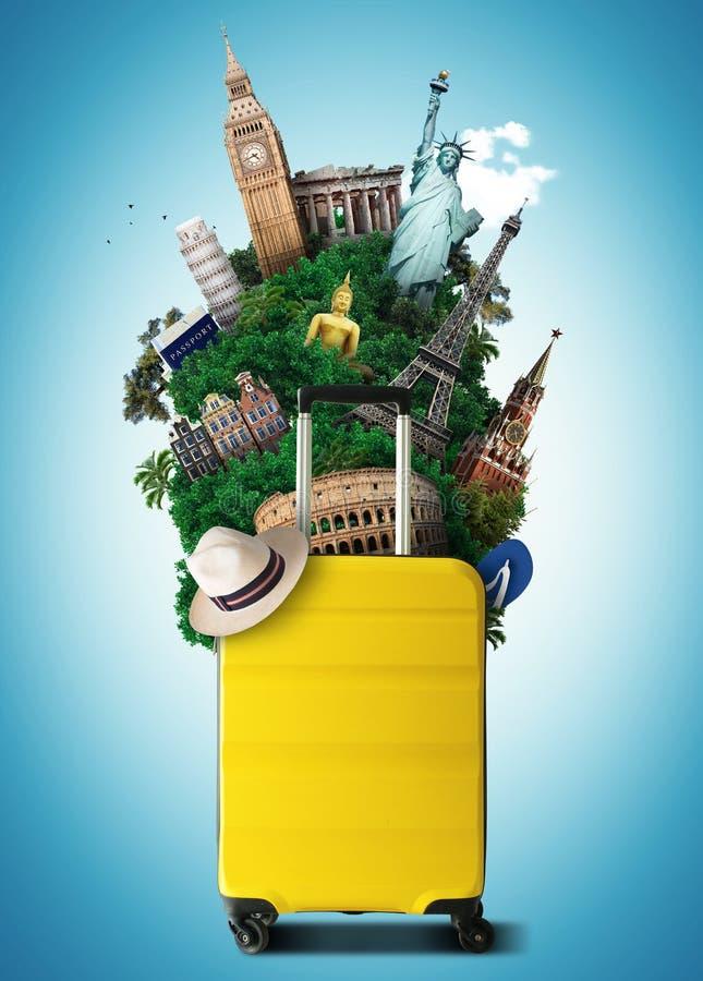 Bolso amarillo del viaje con la señal del mundo stock de ilustración