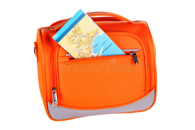 Bolso anaranjado con la correspondencia foto de archivo libre de regalías