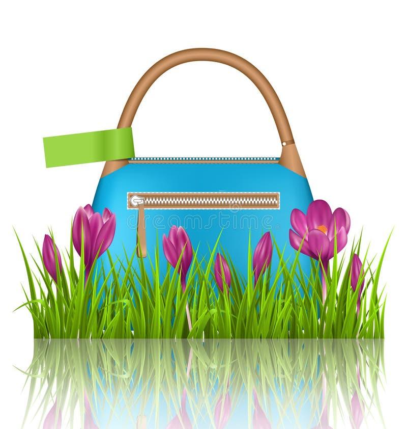 Bolso azul de la primavera de la mujer con las flores de las azafranes y la etiqueta verde stock de ilustración