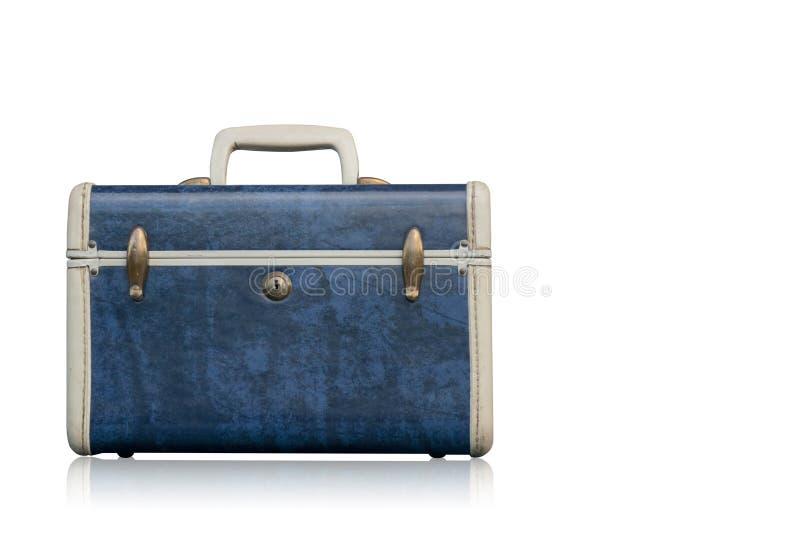 Bolso azul y blanco de la vista delantera en el fondo blanco, espacio de la copia fotos de archivo