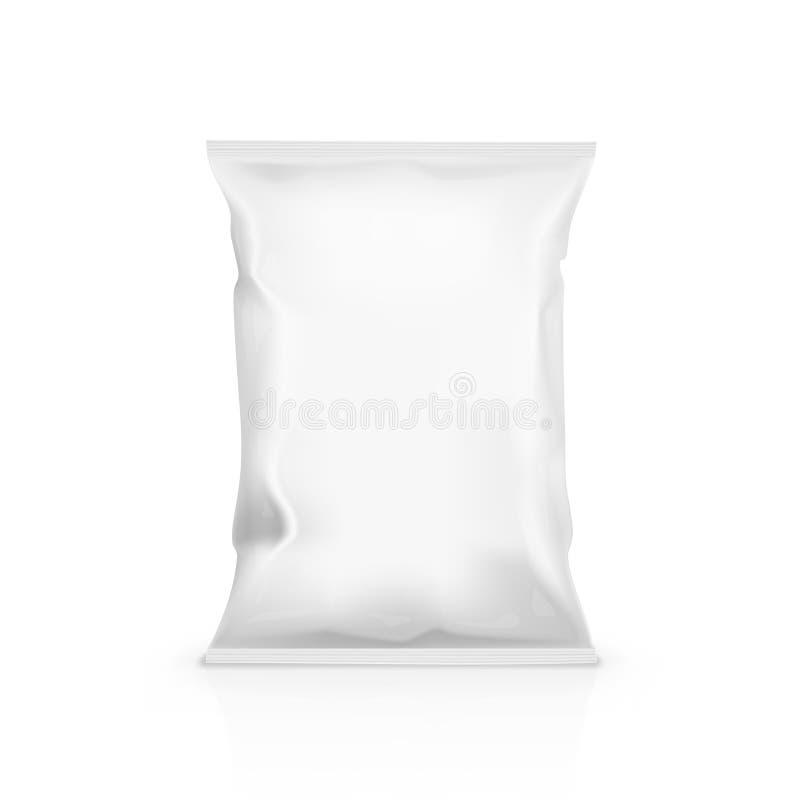 Bolso blanco de la almohada del bocado de la comida para calificar stock de ilustración