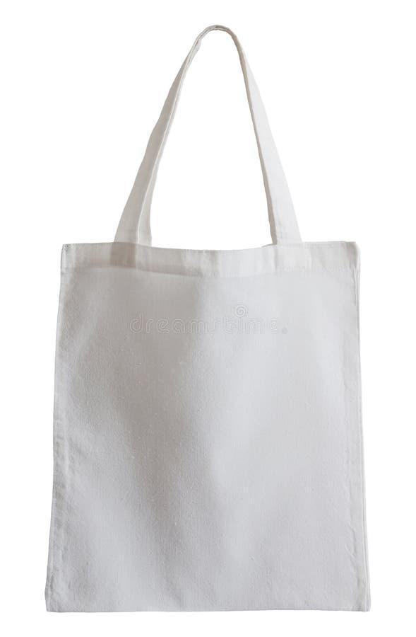 Bolso blanco de la tela aislado en blanco fotografía de archivo