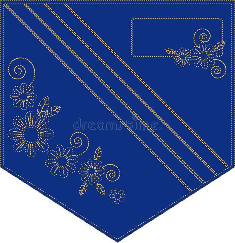 Bolso bordado sarja de Nimes ilustração stock