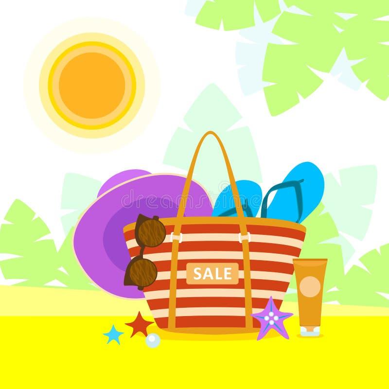 Bolso brillante con los accesorios de la playa en fondo tropical del paisaje Conjunto de elementos del diseño del verano Puede se ilustración del vector
