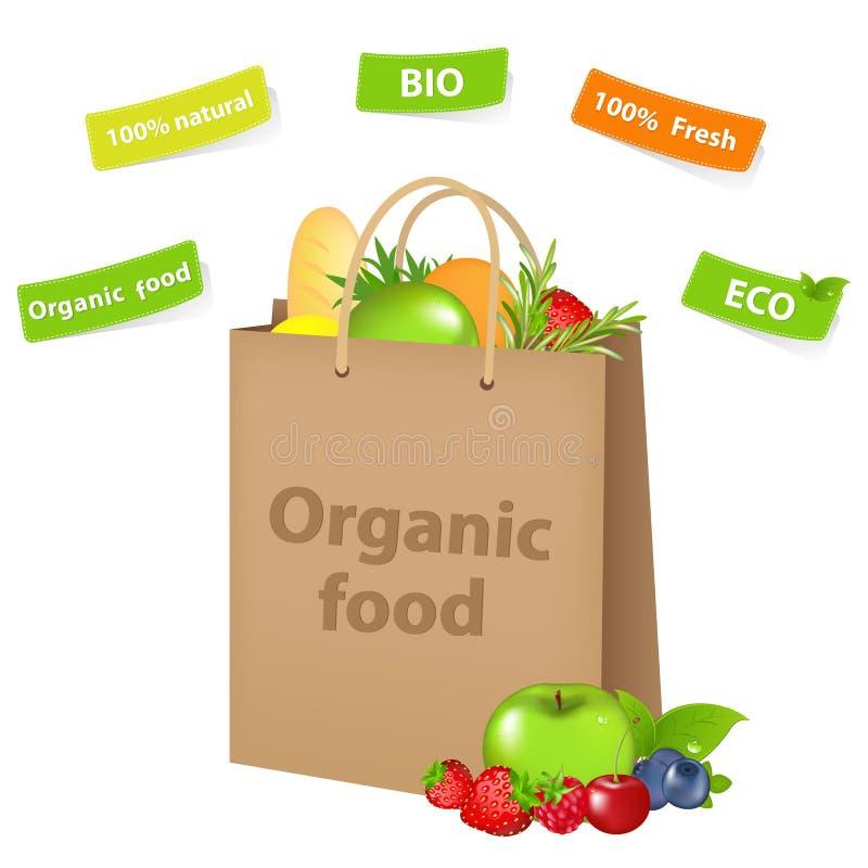 Bolso con el alimento biológico ilustración del vector