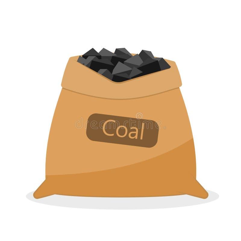Bolso con el carbón stock de ilustración