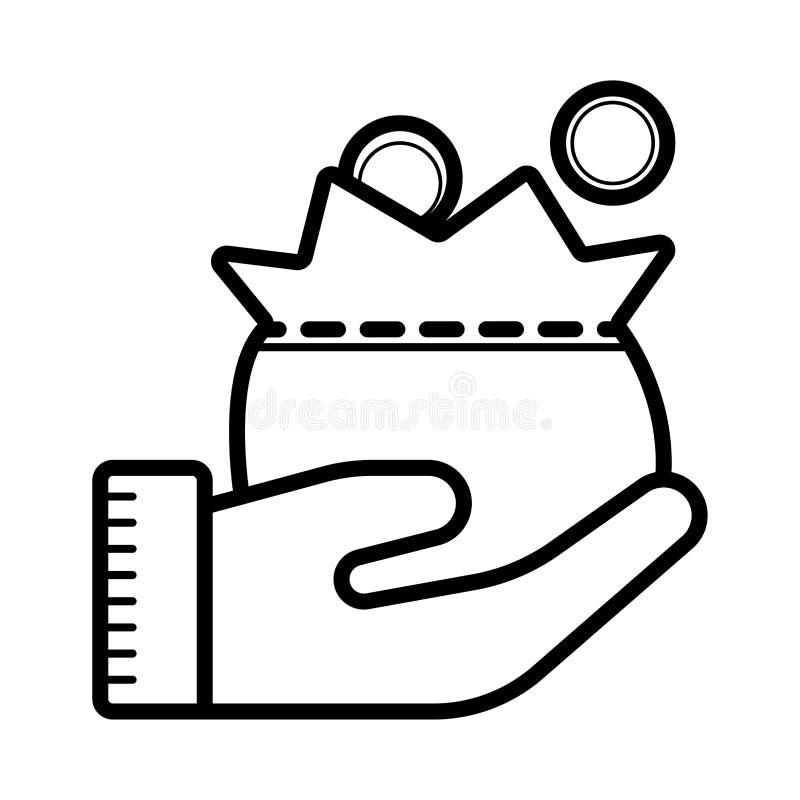 Bolso con el dinero en la palma de su mano ilustración del vector
