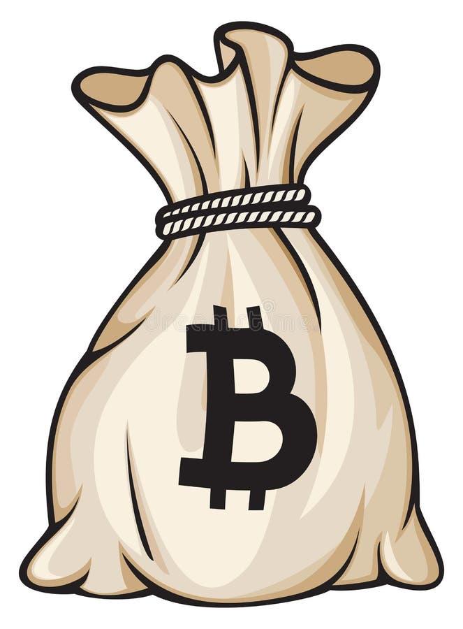 Bolso con la muestra del bitcoin stock de ilustración