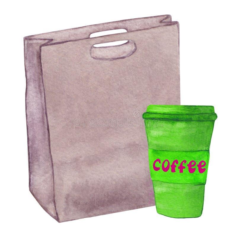 Bolso con una taza de café libre illustration