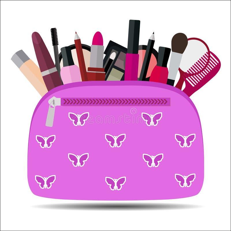 Bolso cosmético rosado con maquillaje en el fondo blanco ilustración del vector
