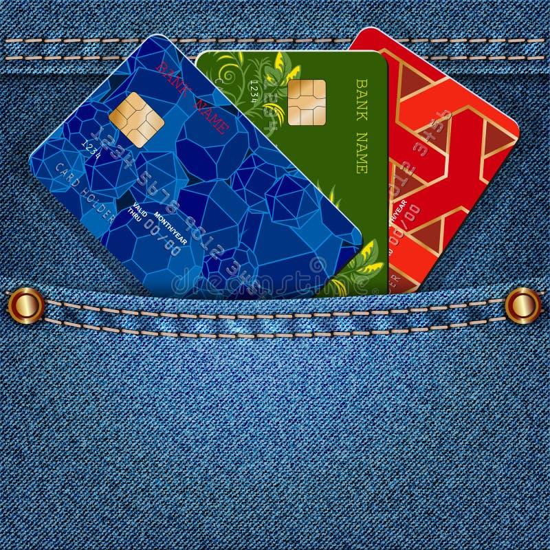 Bolso da sarja de Nimes com os cartões de crédito coloridos ilustração do vetor